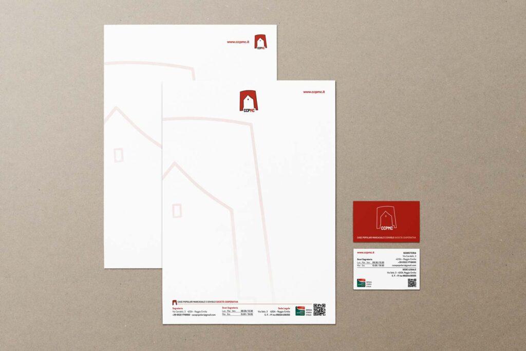 Carta intesta e biglietti da visita realizzati per CCPMC